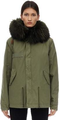 Mr & Mrs Italy Mr&Mrs Italy ARMY MINI PARKA W/ FUR TRIM