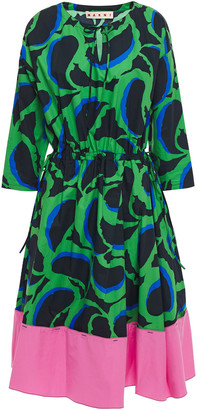 Marni Paneled Printed Cotton-poplin Dress