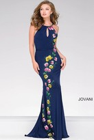 Jovani Jersey Prom Dress With Floral Appliques 42348