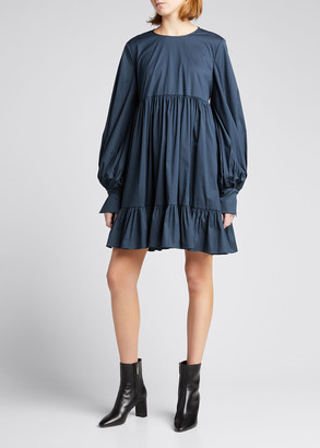 Caroline Constas Miriam Tiered Long-Sleeve Shift Dress