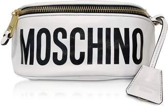 Moschino White Leather Signature Belt Bag