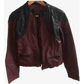 Ikks \N Burgundy Leather Leather Jacket for Women