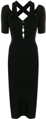 Versace ribbed cut-out dress