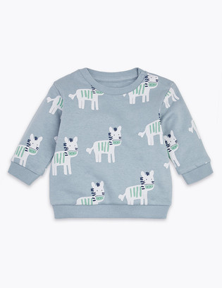Marks and Spencer Cotton Rich Zebra Print Sweatshirt (0-3 Yrs)
