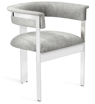 Interlude Darcy Upholstered Dining Chair Frame Color: Nickel
