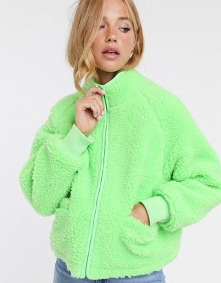 Asos Design DESIGN fleece zip through jacket in lime-Pink
