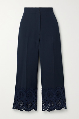 Lela Rose Cropped Broderie Anglaise Cotton-trimmed Crepe Wide-leg Pants - Midnight blue