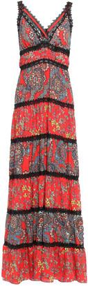 Alice + Olivia Karolina Crochet-trimmed Printed Crepe Maxi Dress