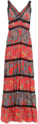 Alice + Olivia Lace-trimmed Tiered Printed Crepe Maxi Dress