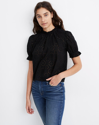Madewell Embroidered Eyelet Ruffle-Neck Keyhole Top