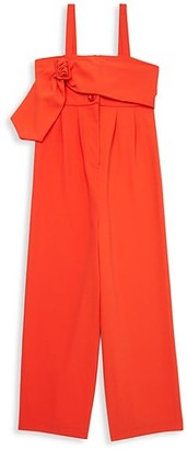 Habitual Girl's Sleeveless Belted Crepe Jumpsuit