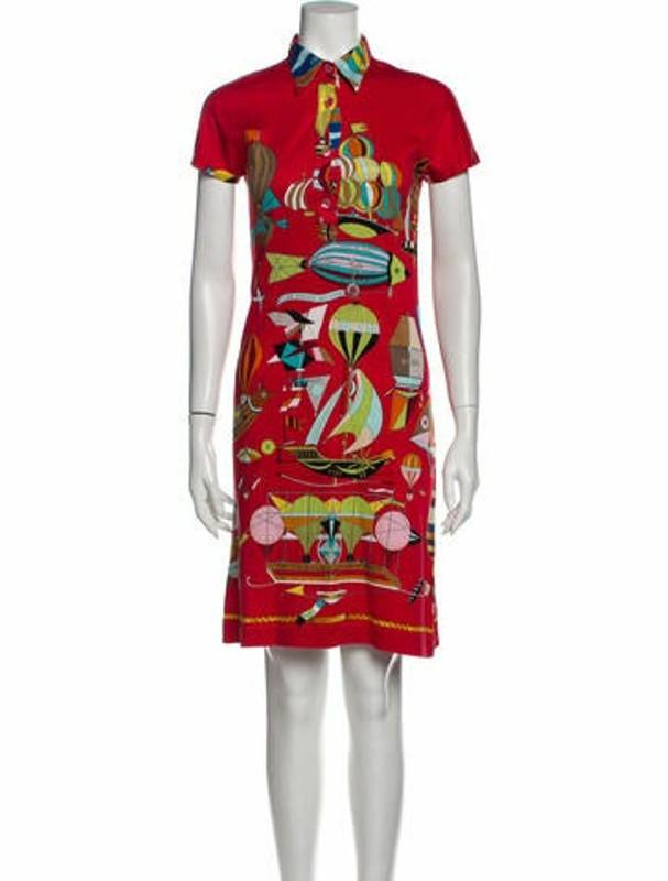 Hermes Printed Knee-Length Dress Red