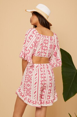 Little Mistress Pink Aztec Printed Shorts Co-Ord