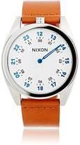 Nixon Men's Genesis Leather Watch-WHITE