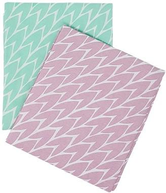 Laura Jackson Design Leaf Tea Towel Set Pink & Mint