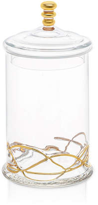 Classic Touch Large Vivid Glass Canister Jar With Lid - 14K Gold Swirl Design