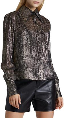 Saint Laurent Silk Button-Front Blouse