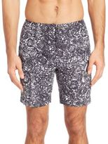 """Onia Calder 7.5"""" Abstract Doodle Print Swim Trunks"""