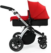 Ickle Bubba Stomp V2 All In One Baby Travel System - Red on Black Lightweight Chasis Pram, Pushchair and Car Seat by Ickle Bubba
