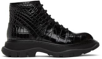 Alexander McQueen Black Croc Tread Lace-Up Boots