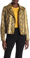 T Tahari Snake Print Faux Leather Moto Jacket