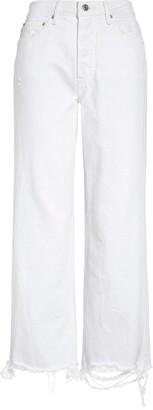 GRLFRND Bobbi Distressed High Waist Crop Straight Leg Jeans