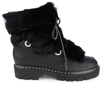 Montelliana 1965 Jolie Rabbit Fur-Trim Shearling-Lined Leather Boots