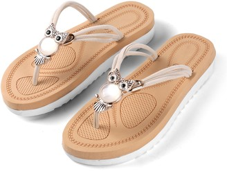 Aerusi Owl Embellishment Flip Flop Sandals