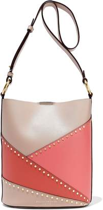 Donna Karan Adan Studded Color-block Leather Bucket Bag