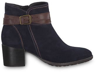 Tamaris Paula Suede Boots with Block Heel and Buckle