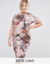 Asos Floral Palm T-Shirt Scuba Bodycon Dress