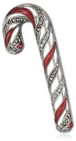 "Judith Jack Winter Sparkle"" Sterling Silver Marcasite and Enamel Giftable Candycane Brooch"