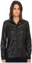 Just Cavalli Perforated Button Front Long Sleeve Top