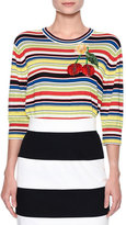 Dolce & Gabbana Cherry-Embroidered Striped Top, Multi