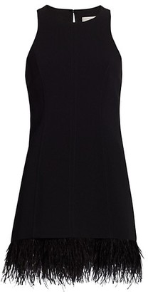 Cinq à Sept Catherine Feather-Trimmed Mini Dress