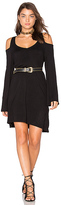 Chaser Double V Cold Shoulder Mini Dress in Black. - size XS (also in )