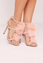Missguided Pom Pom T Bar Heeled Sandals Pink