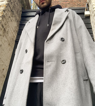 Collusion oversized faux wool overcoat in grey