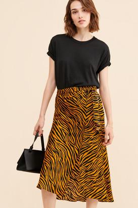 J.o.a. Woven Faux Wrap Midi Skirt