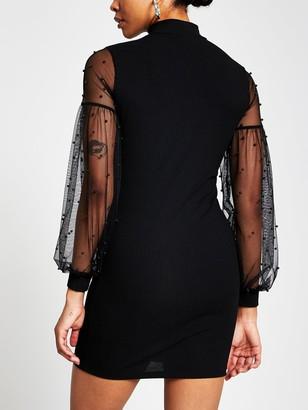 River Island Pearl Mesh Sleeve High Neck Dress - Black