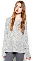 Michael Lauren Rangle Draped L/S Scoop Neck Sweater in Light Heather