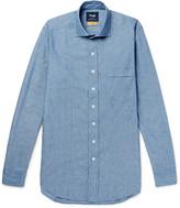 Drake's - Easyday Slim-fit Cutaway-collar Cotton-chambray Shirt