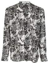 Saint Laurent Men's White/black Silk Shirt.