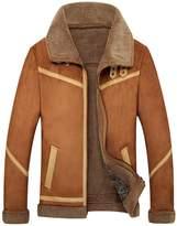 Jinmen Men's Lapel Faux Fur Jackets Winter warm Luxury Coat Parka (Meduim, )