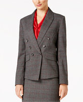 Tahari ASL Double-Breasted Plaid Blazer