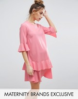 Queen Bee Mini Dress With Fluted Sleeve And Ruffle Hem