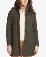 Lauren Ralph Lauren Plus Size Faux-Suede-Trim Quilted Coat, Only at Macy's