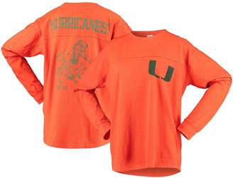 Women's Pressbox Orange Miami Hurricanes Big Shirt Oversized Long Sleeve T-Shirt