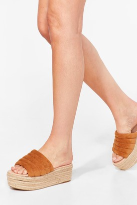Nasty Gal Womens Build You Up Faux Suede Woven Sandals - Tan