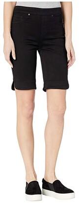 Tribal Pull-On Bermuda Shorts w/ Curved Side Slit (Black) Women's Shorts